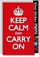 SK-308 KEEP CALM AND CARRY ON Mサイズ ステッカー 平静を保ち、普段の生活を続けよ ロゴ (WHITE)