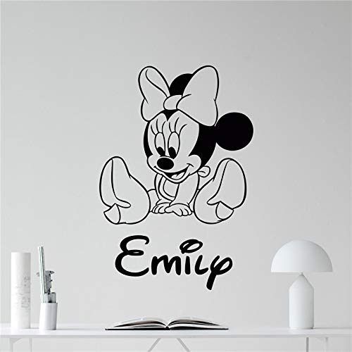 hetingyue Cartoon Maus Wandtattoo Mädchen Name benutzerdefinierte Cartoon Maus Cartoon Vinyl Aufkleber 58x40cm