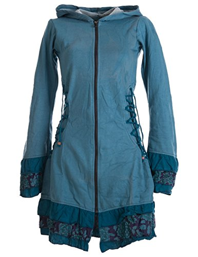 Vishes – Alternative Bekleidung – Elfenmantel aus Baumwolle mit Zipfelkapuze und Rüschen zum Schnüren türkis 42