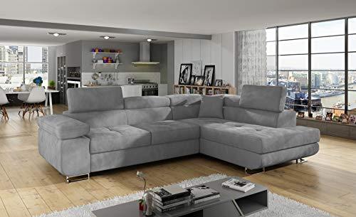 Ecksofa Antos mit Schlaffunktion Bettkasten Seite Rechts und Links Sofa Möbel 23 (Paros 05, Rechts)