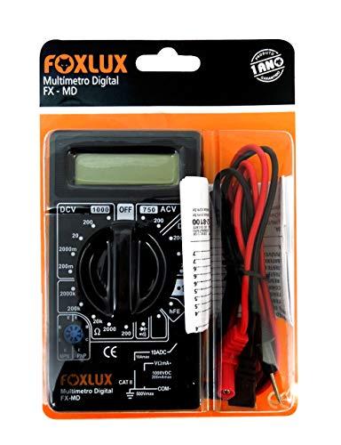 Multímetro Digital Foxlux – Com Ponta de Prova – ACV + DCV – Testes de Diodo e Transistor HFE – Teste de continuidade com bipe