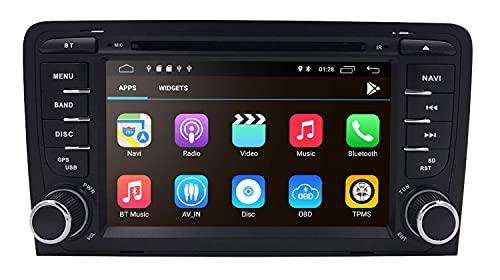 Android 10 Car Navigation Bluetooth, DVD/CD / 1080P Reproductor de Video Especial para Audi A3 S3 RS3 2003-2012 con Pantalla táctil de 7 Pulgadas Soporte Mirror-Link WiFi / 4G