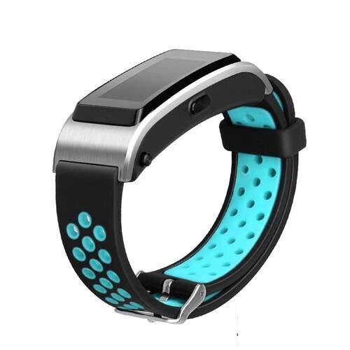 LRJBFC Correa de Pulsera Pulsera Banda de Reloj para Huawei Talkband B2 B3 B5 B6 Pulsera Deportiva SmartWatch 15mm 16mm 18mm (Band Color : Black Blue, Band Width : 15mm For Huawei B2)