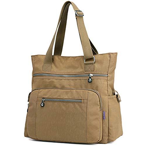 Lavogel Bolso de mano de nailon con múltiples bolsillos, bolsa de hombro grande, bolsa de viaje para mujer, Beige (X-caqui), Talla única