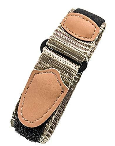 Correa de reloj de nailon de 16 a 20 mm de longitud ajustable, color marrón, resistente, gancho y bucle, correa de muñeca de repuesto deportiva | unisex