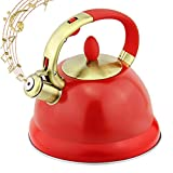 ZHCSS Tea Kettle for Stove Top Whistling Tea kettles Teapot- 3L Surgical 5 Layers Bottom Stainless Steel Teakettle Tea Pots for Stovetop Loud Whistle Tea Pot with Cool Toch Ergonomic Handle, Red