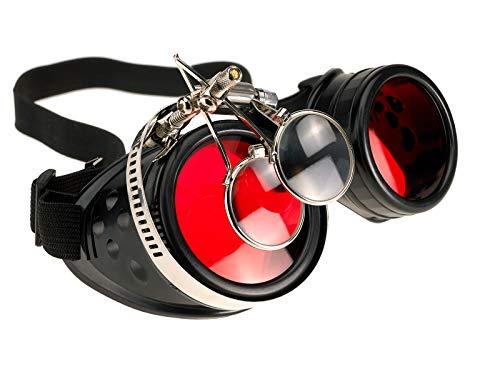 4sold Loupes Steampunk Antique Copper Cyber Goggles Rave Goth Vintage Victorian Sonnenbrillen Inklusive GRATIS UV400 Sonnenbrille Objektiv und zusätzliche Aufkleber alle Bilder sehen