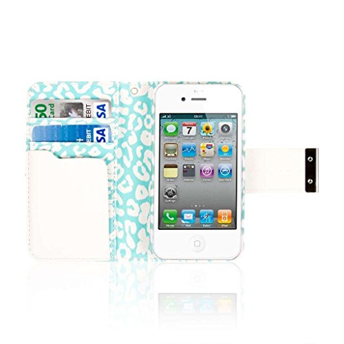 EMPIRE Klix Klutch Designer Portemonnee Munt Luipaard Case met Screen Protector voor Apple iPhone 4/4S