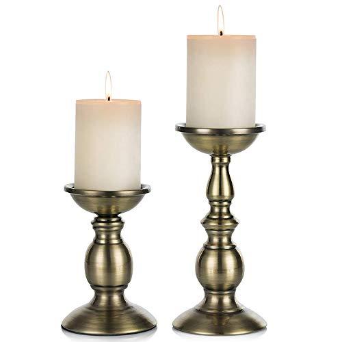 Eisen Säulenständer Kerzenhalter, Tischdekoration Kerzenständer Für Hochzeit, Party, Geburtstag, Abendessen Bei Kerzenlicht, Vintage Kerzenständer Hausdekoration, Kupferfarbe (Brok, Klein + Groß)