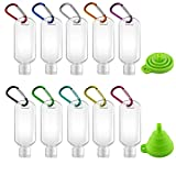 10pcs Travel Squeeze Bottles with Keychain, Portable Mini Clear Travel Bottles with Funnel, BPA Free HDPE Refillable Plastic Bottles, 50ml/2oz Bottles with Flip Cap for Hand Sanitizer, Shampoo, Liquid, Cosmetic