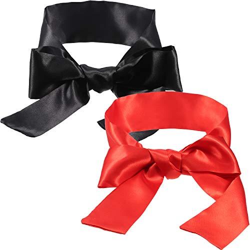 Hestya 2 Stück Schlafmaske Satin Augenmaske (schwarz und rot) Augenbinde, 150 cm