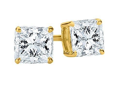 1/2 0.5 Carat Princess Cut Diamond Stud Earrings Earth-mined 14K Yellow Gold (I-J I1-I2)