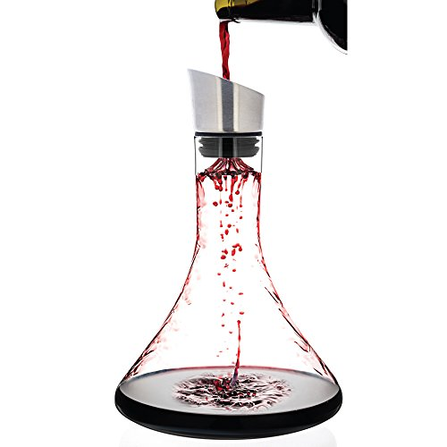 Luxbe - Wine Decanter 54-ounce with Aerator Pourer Lid - 2 in 1 - 100% Hand...