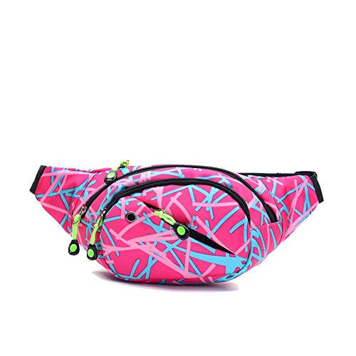Ausion Waist Pack Bag, Chest Shoulder Fanny Pack Pouch with 4-Zipper Pockets, Adjustable Belt for Workout Vacation Hiking Running, for iPhone X 8 7 Plus 6S 5 amsung Galaxy S9 S8 Plus Note 8, Pink
