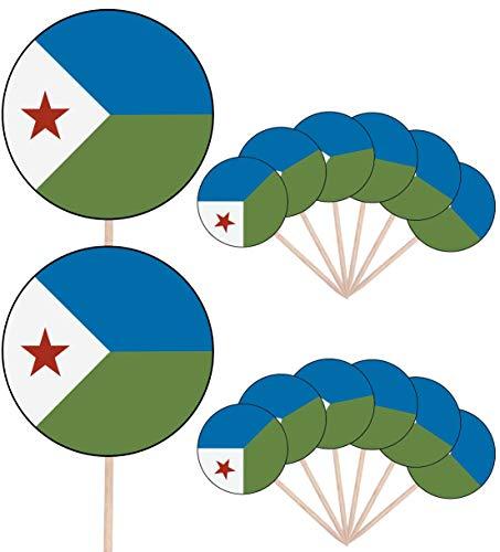 Dschibuti Flagge, Party-Dekoration für Kuchen, Cupcakes, Stäbchen, Stand-Up, Dekoration, 14 Stück