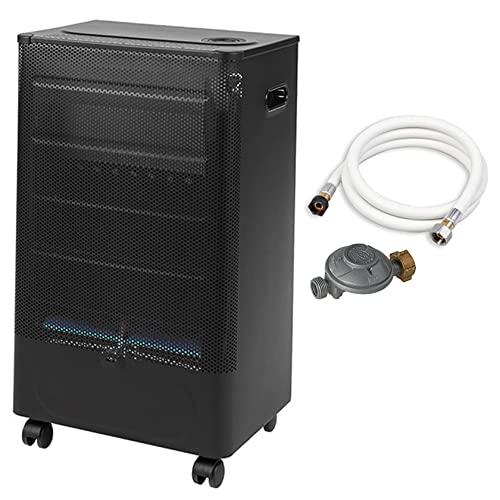 Favex - Chauffage d'appoint à gaz Praha Blue Flame - Prêt à l'emploi livré avec tuyau et détendeur - Intérieur - Brûleur Inox Infrableu - 3 Puissances de chauffe -jusqu'à 35 m² - Noir