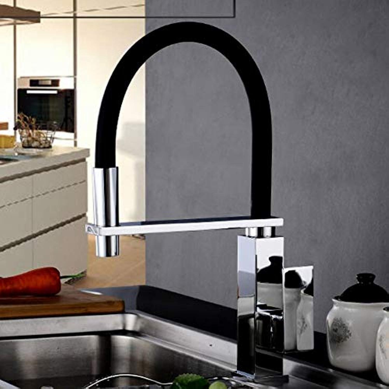 Ppigle Moderne Küchenarmatur Spiralfeder Fitting 360 ° drehbare Waschtischarmatur Ausziehbar Schwarz Hoher Auslauf Einhebelmischer Chrom Mit Schwarz