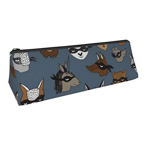 Bandit Tiere Dreieck Stifttasche Tragbar Federmäppchen Kosmetiktasche Tasche für Büro Student Frauen