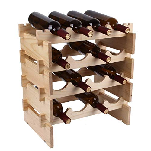 Estantería de vino Soporte de estante de almacenamiento de vino independiente multinivel de pino natural con organizador de estante de almacenamiento Estante de vino apilable Estante de almacenamiento
