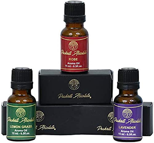 Prakriti Absolute Essential Oils Lemon Grass Oil Rose Oil Lavender Oil Pack of 3 essential oil for home fragrance aroma oil for diffuser Fragrance oil