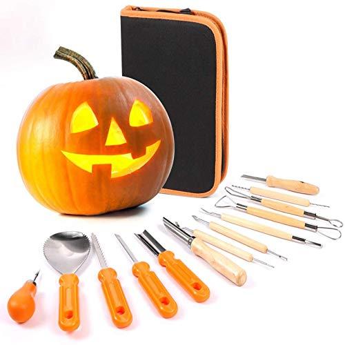 DGTJSISHILIU Herramientas para Tallar Calabazas, Exquisito Kit De Tallado De Halloween Adecuado para Tallar Calabazas, Pumpkin Carving Kit Acero Inoxidable(13pcs)