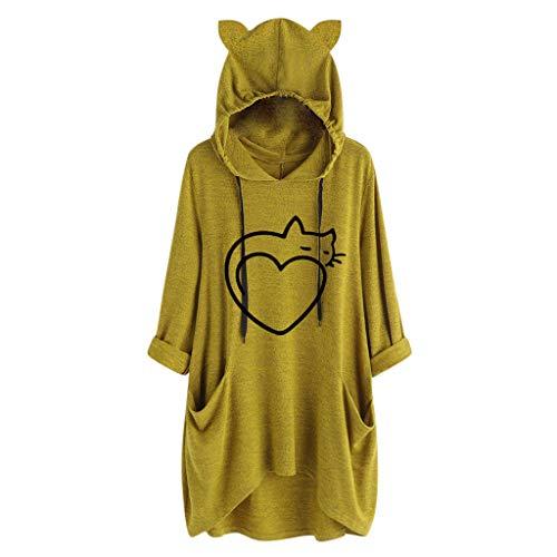 SANFASHION Damen Hoodie Kapuzenshirt Lässige locker Oberteile Frauen Mode Casual Katze Bedrucken T Shirt Pullover Kleid Sweatshirt Mit Kapuze und Taschen