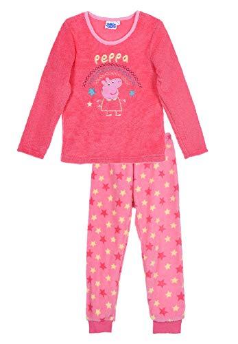 Peppa Wutz Pig Schlafanzug Fleece Pyjama für Kinder, Farbe:Pink, Größe:116
