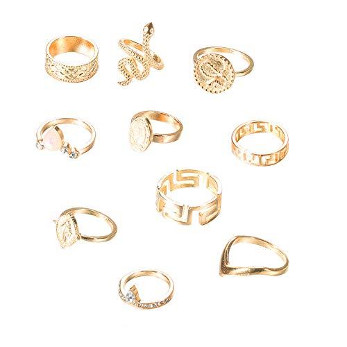 DIYOO Ring Sets Persönlichkeit Ring Schlange Ring Gold Ring Fingerringe 10er Schmuck Sets