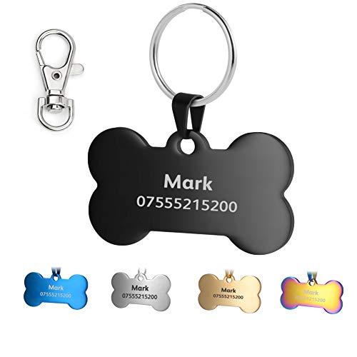 KSZ Etiquetas de identificación para Mascotas de Acero Inoxidable, Etiquetas Personalizadas para Perros y Gatos. Grabado Frontal y Trasero. Múltiples Colores (Negro, Hueso)