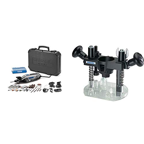 Dremel 4300-5/40 High Performance Rotary Tool Kit with LED Light- 5 Attachments & 40 Accessories- Engraver, Sander, and Polisher- Perfect for Grinding, Cutting, Wood & 335-01 Plunge Router Attachment