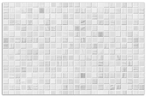Wallario Herdabdeckplatte/Spritzschutz aus Glas, 2-teilig, 80x52cm, für Ceran- und Induktionsherde, Motiv Fliesen im Bad weiß-grau