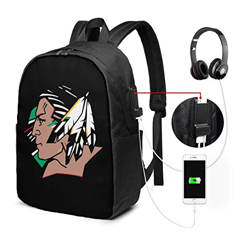 ZYWL Fighting Sioux Laptop Backpack with USB Charging Port, Business Bag College High School Bookbags Fit 17 Inch Laptops