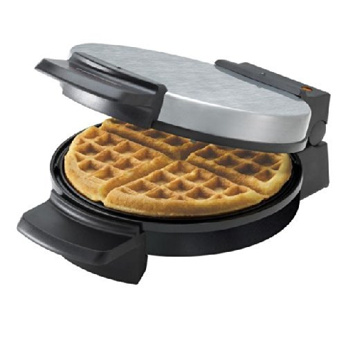 Black & Decker Belgian Waffle Maker Cool Touch 7 In. Round Belgian Waffles Brushed Chrome Top, Non-S