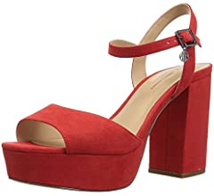 red strappy heels amazon