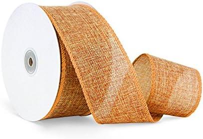 Primitive Decor TWENTY FIVE YARD Roll Offray  Rustic Craft Burlap Wired Ribbon Burlap Wire Edged Ribbon 2 12 White Natural Jute