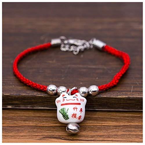Lllunimon Moda Cadena de Cuerda roja Linda Lucky Cat Pulsera y brazaletes para la niña Mejor Pulsera de joyería de Regalo 2pcs,G