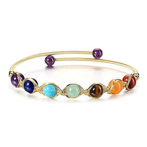 CrystalTears Chakra Armband 14K Gold Wire offene Armreif mit 7 Chakra Heilenstein Yoga Meditation Energietherapie Armschmuck