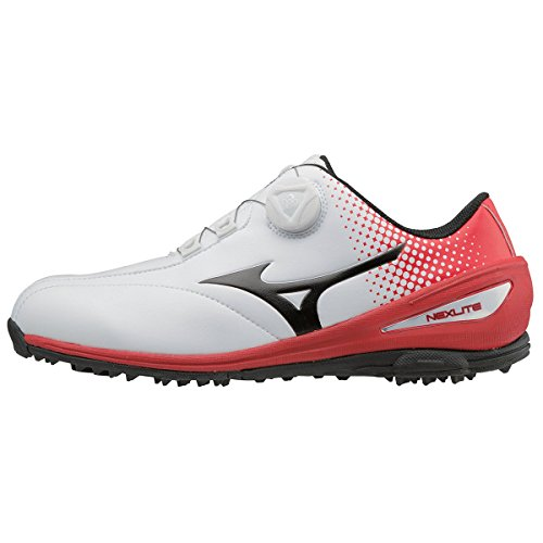 Mizuno 2018 NEXLITE 004 BOA Spikeless Wasserdichte Herren Golfschuh - White/Red 8UK