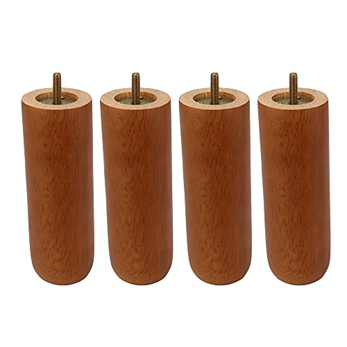 BQLZR 18x6.2x5cm Tapered Wooden DIY Furniture Legs w/ M8 Screw Rod for Sofa Pack of 4