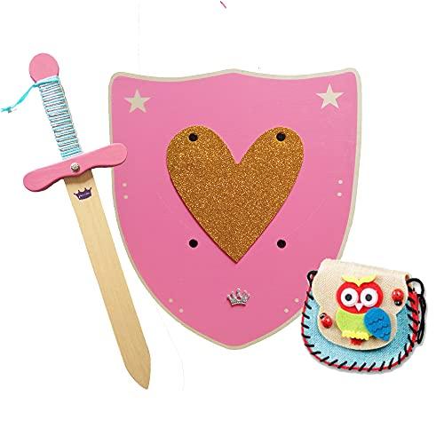 HERALDUM Espada y Escudo de Madera con Brillantina y Bolsito para Niñas.Accesorio para Disfraz y Fiestas.