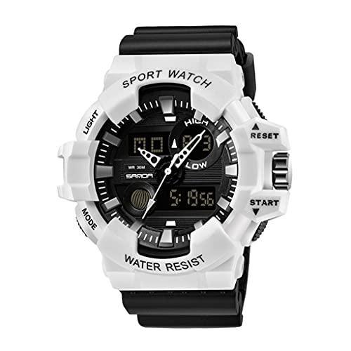 Thomm Reloj Deportivo para Hombres Dial Grande Double Double Pantalla Doble Moda Tactical Tactical Relojes Impermeables con Banda de Resina para Hombres Reloj de Pulsera (Color : F)