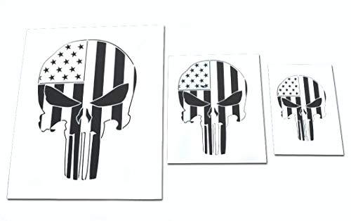 Schablonen-Set mit Totenkopf-Motiv und Airbrush-Motiv und Truck, 3 Stück
