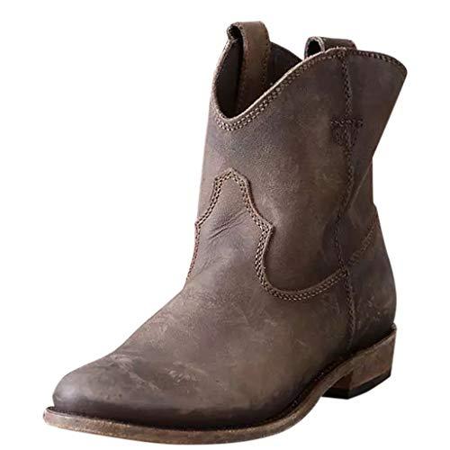 WHSHINE Damen Vintage Cowboy Cowgirl Stiefel, Slouchy Western Ankle Boots Kurze Stiefeletten mit Blockabsatz