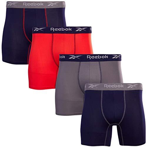 Reebok Calzoncillos tipo bóxer para hombre con bolsa cómoda (4 unidades), color azul, naranja y gris, grande