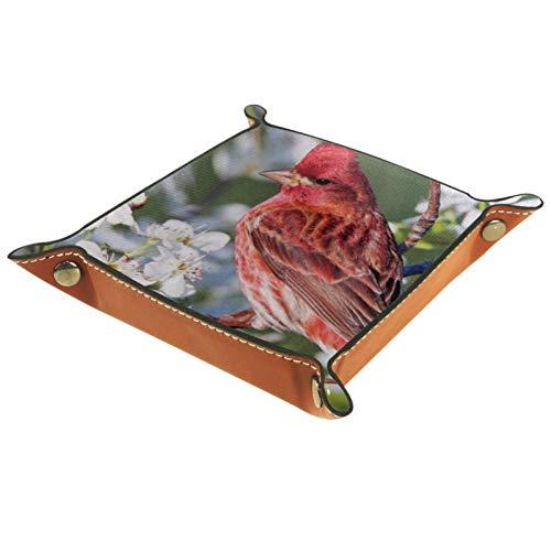 AITAI Valet Tray veganes Leder Nachttisch-Organizer Schreibtisch Ablageteller Catchall Red Bird Wallpaper