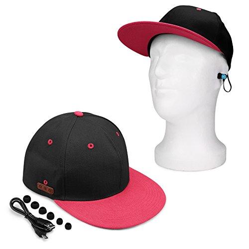 Urcover Bluetooth Cap Schwarz/Pink [ Freisprechfunktion laut leiser waschbar ] Snap-Back Unisex Musik Baseball-Kappe Mütze inkl. USB Ladekabel & In-Ear Ohrstöpsel für Sommer Outdoor Sport