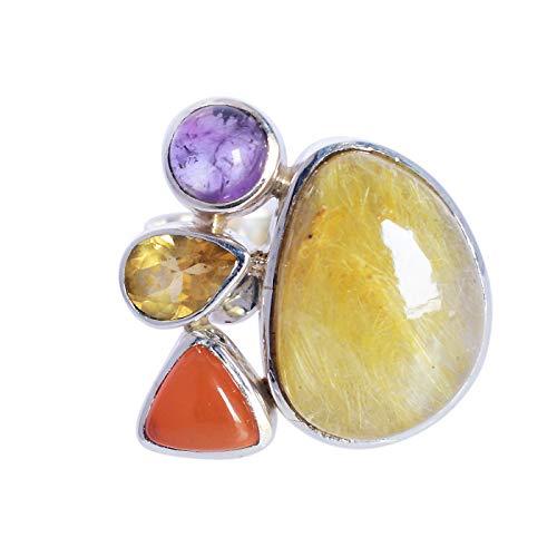 Ravishing Impressions Jewellery Mujer Unisex Plata fina 925 plata de ley fancy,Trillion,Pear & Round-Shape Rutil dorado, cornalina, citrino, amatista
