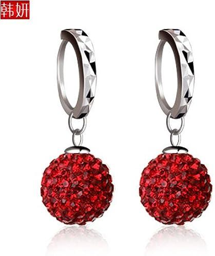 BAGEHAN Weiß Flash Diamond Ohrringe S925 Tremella Zubeh Ohrringe Schmuck, Rot 12mm
