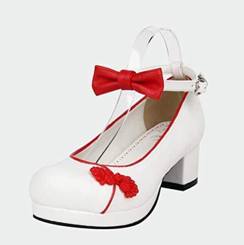 LIGEIAOGIAO Mujer niña Lolita Cosplay Zapatos Damas 33-47-blanco_12