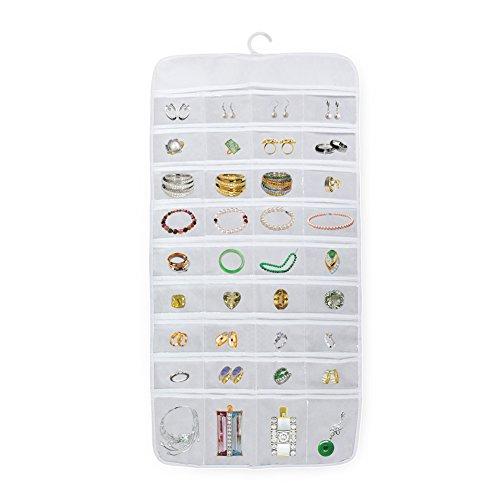 Owfeel HäNgende Aufbewahrung Organizer Schmuck ZubehöR Aufbewahrungstasche Mit 72 Display Transparente Taschen Platz Weiß Farbe HäNgende Aufbewahrung Taschen
